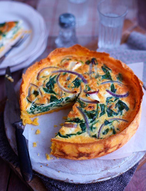 Spinach, red onion and feta quiche with a polenta crust. A comfort food wonder, serves 8.