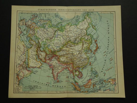 ASIA old map of Asia 2 matching antique maps by DecorativePrints