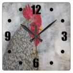 Grey Country Rooster Square Wall Clock  #Clock #Country #Grey #Rooster #RusticClock #Square #Wall The Rustic Clock