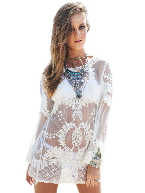 Long Sleeves Lace See Through Beach Cover Ups
