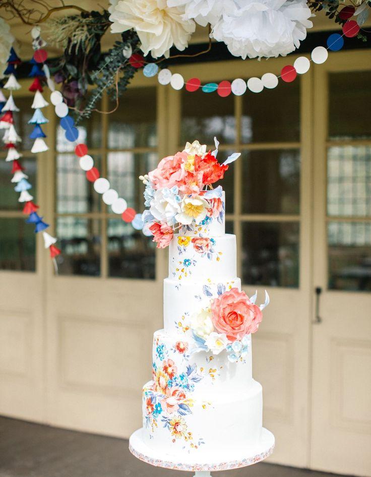 Whimsical Floral Wedding Cake