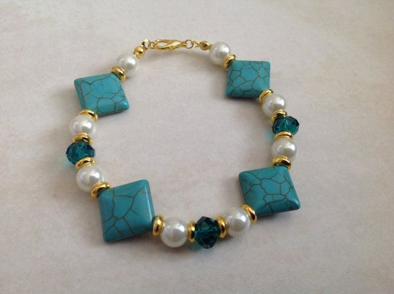 Turquoise Howlite and Cream Pearl Beaded by EverGracefulGifts