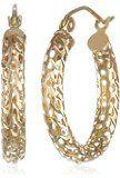 Yellow Gold Diamond-Cut Pierced Tube Hoop Earrings
