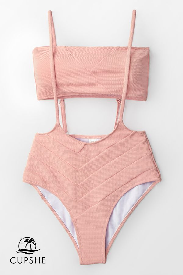 0c9cd648bd Stand out from the crowd in this exclusive Peach Bandeau with High-Waist  Suspender Bikini.
