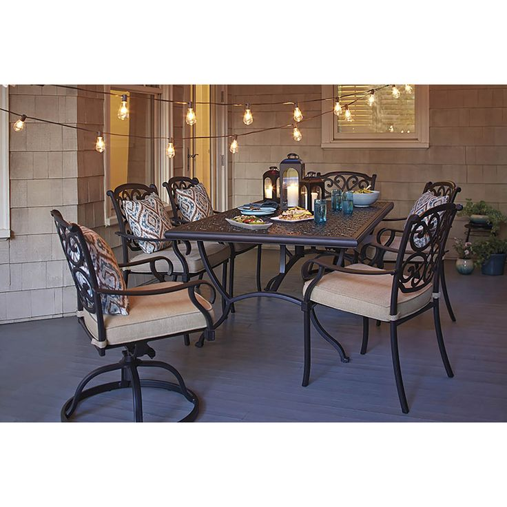 Shop Garden Treasures Belthorne Black Rectangle Patio Dining Table At  Lowes.com