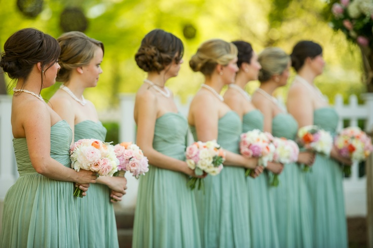 peach and celadon wedding, peach and mint wedding, j. crew dusty shale bridesmaid dresses,