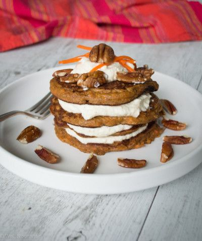 Make these for breakfast this Easter. The Easter Bunny is sure to approve of these delicious Carrot Cake Pancakes. These lovely spiced pancakes are straight forward to make and served with the Spiced Cream Cheese, are just delicious. They are wheat-free, with a option for dairy-free Thermomix method also included.