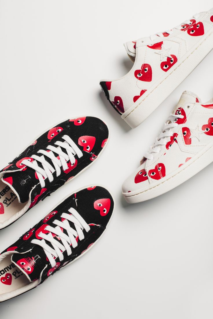 Converse x Comme Des Garcons PLAY Pro Leather Lows  #CDG #Converse #Play…