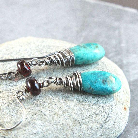 Garnet And Chrysocolla  Earrings  Oxidized Silver Gemstone