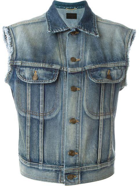 Saint Laurent Jaqueta jeans sem mangas
