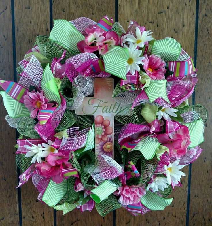SPRING EASTER  DECO MESH BURLAP RIBBON WREATH  - Free Shipping #DecoMesh