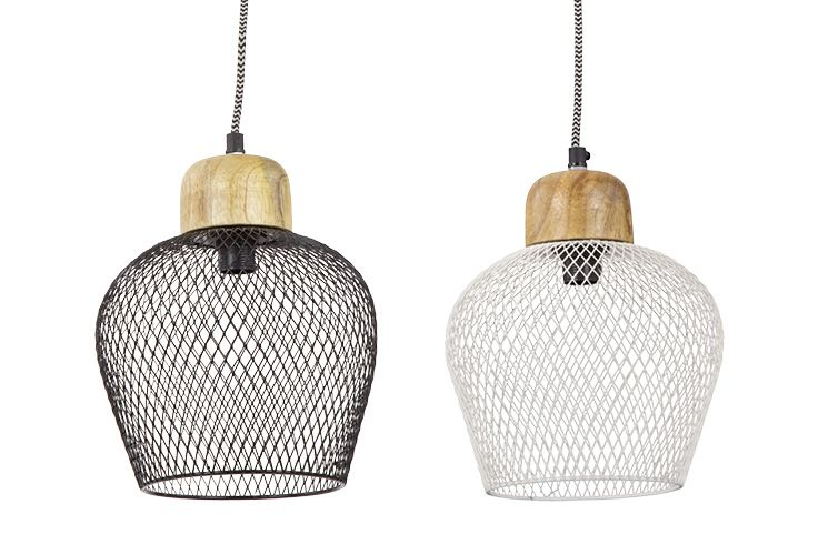 Contemporary Belem Pendant Light in Black & White Wire | Mid-Century Style with Laminated Timber Layers & Gloss Shade | More at Schots in Melbourne & Geelong, Australia or online at www.schots.com.au