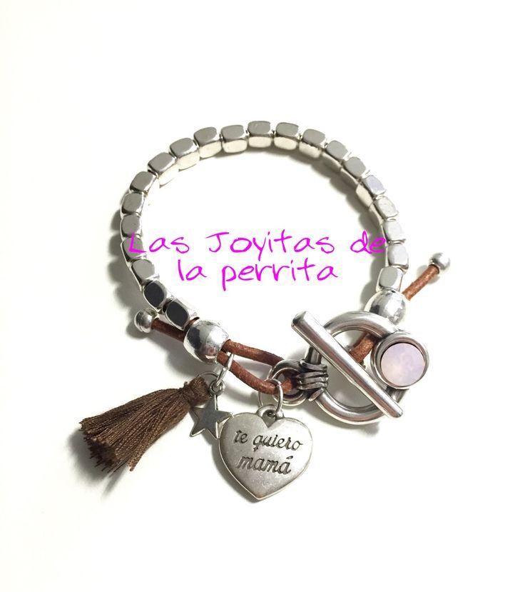 pulseras dia de la madre te quiero mama cuero bolas zamak original diseño unico hand made joyeria mujer artesanal inspiracion