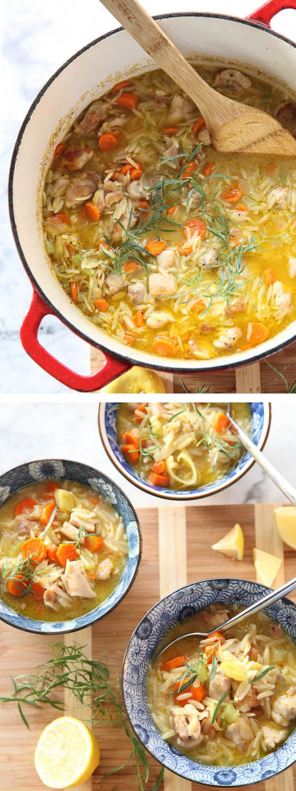 Lemon Chicken Stew with Orzo pasta is a perfect one-pot meal for busy weeknights #recipe on foodiecrush.com #soup #stew #chicken