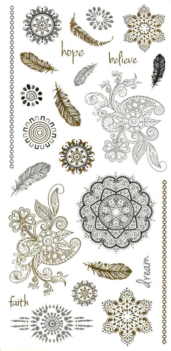 Metallic tattoo: Henna inspired metallic temporary body art - Tattoo Jewelry…