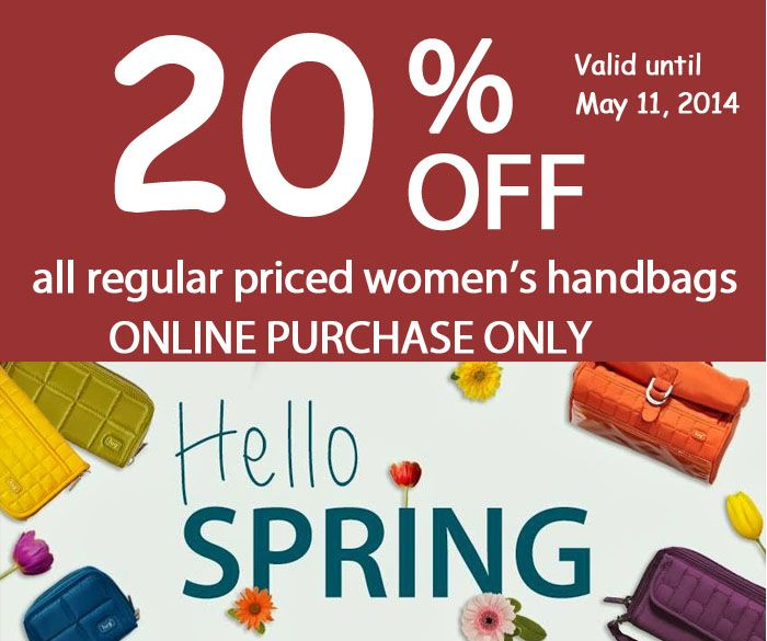 Happy Mother's Day 20% off all regular priced women's handbags Visit us online www.luggagecity.ca