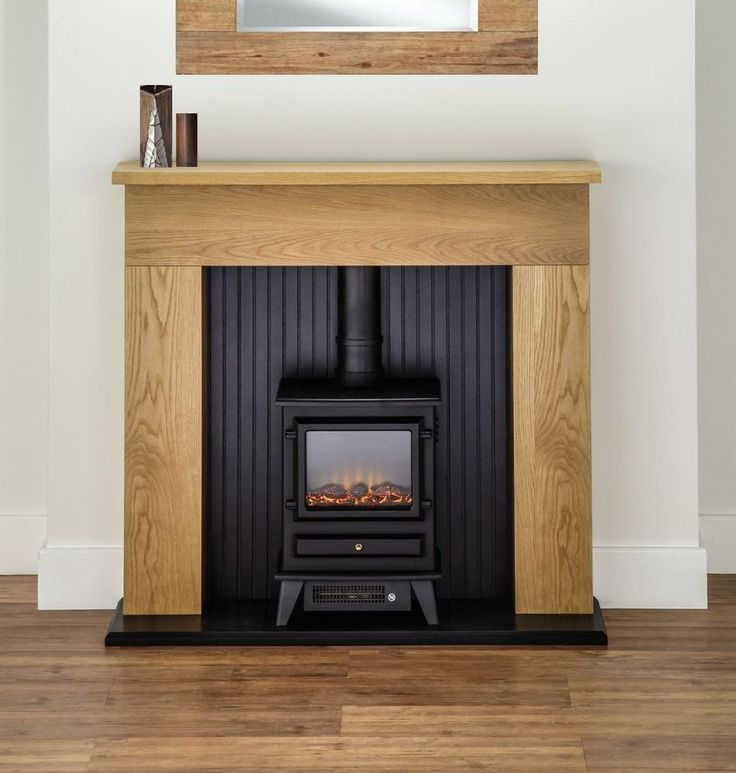 ELECTRIC FIRE STOVE OAK MANTLE AND BLACK FIREPLACE MODERN SURROUND FREESTANDING