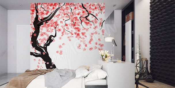Fototapeta japońska wiśnia/ Japanese tree wall mural for bedroom - design ideas