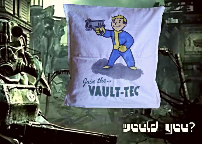 Cool Fallout pillow cover, throw pillow, Vault Boy propaganda, wasteland pillow case http://www.bonanza.com/listings/Fallout-pillow-cover-throw-pillow-Vault-Boy-propaganda-wasteland-pillow-case/314286539