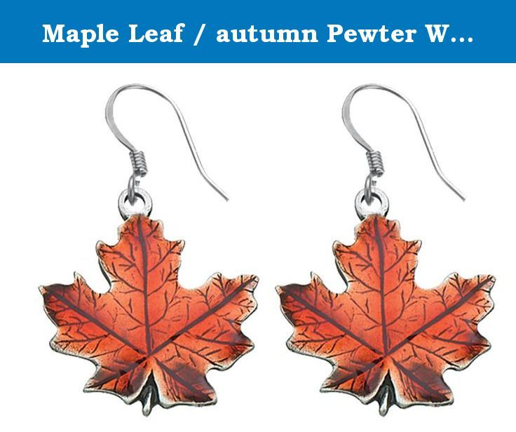 """Maple Leaf / autumn Pewter Wire Earrings. The Maple Leaf / autumn wire earrings are made by hand from fine lead-free pewter in our Middlebury, Vermont workshop. The French wires are surgical steel and each pair of earrings come packaged on a card. Earrings 3/4"""" high plus earring wire."""