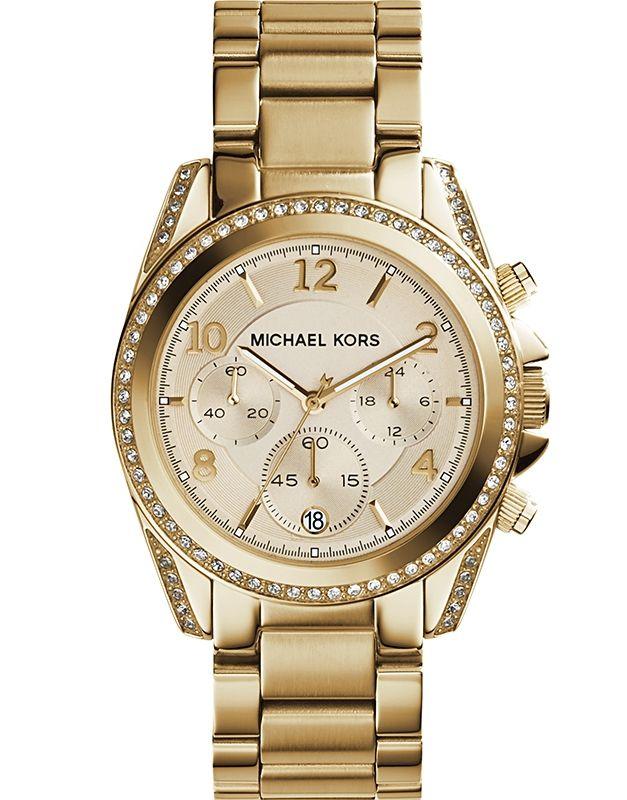 Damen armbanduhr blair chronograph quarz edelstahl beschichtet mk5166
