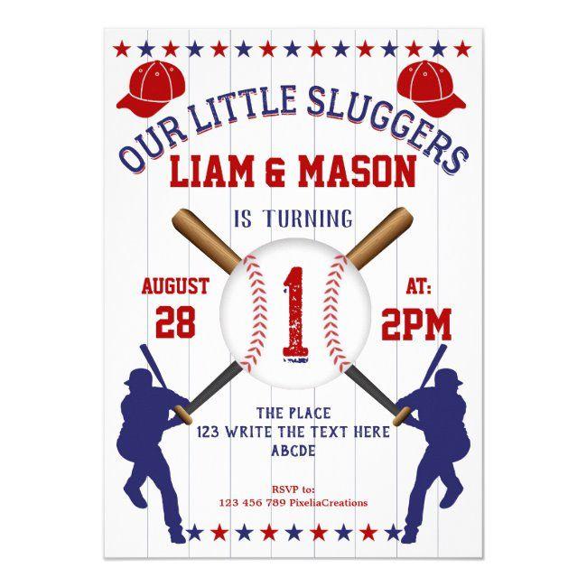 Twin Boy 1st Birthday Little Slugger Baseball Invitation Zazzle Com In 2020 1st Boy Birthday Sports Birthday 1st Birthday Invitations