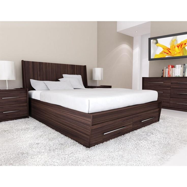 Elegant Platform Beds Part - 21: Laurel Platform Bed With Storage Drawers In Ebony Pecan Finish - Platform  Beds With Storage Drawers