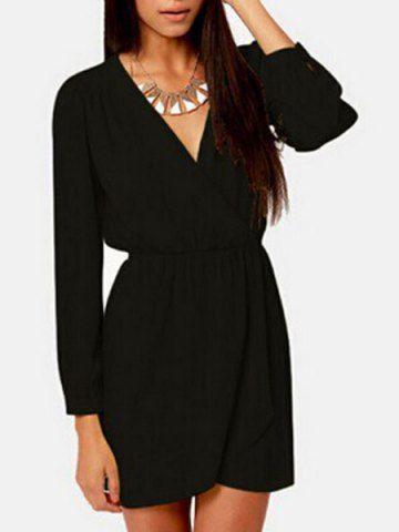 Graceful V-Neck Long Sleeve Solid Color Women's Mini DressLong Sleeve Dresses   RoseGal.com