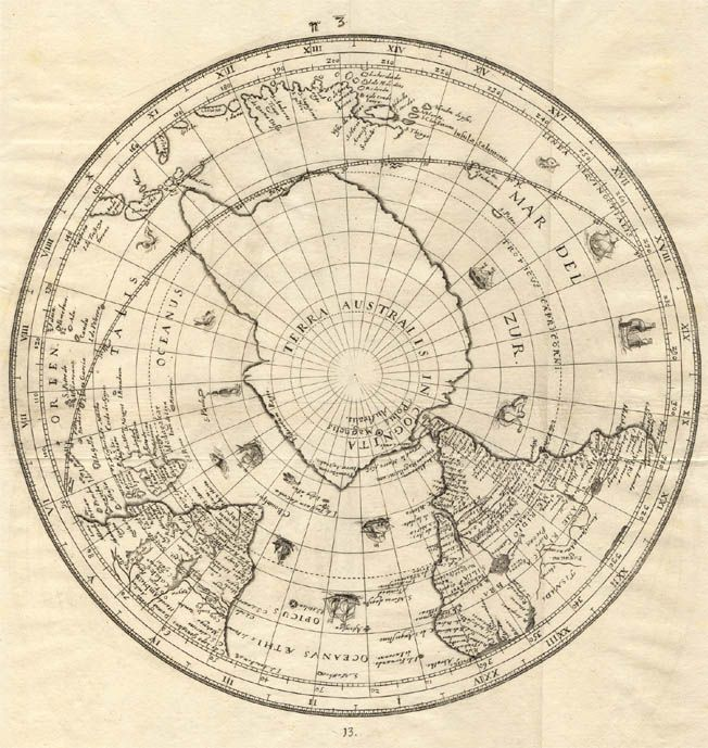 Antique map of the Southern hemisphere.