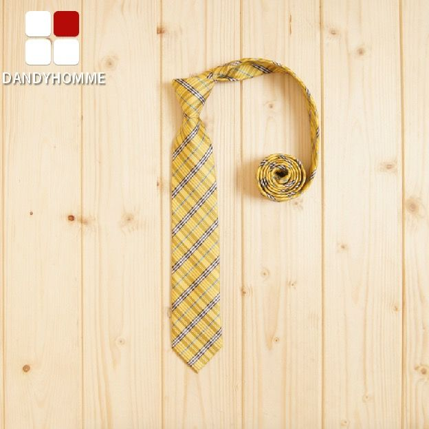 DANDY HOMME High Quality 2015 Men Winter Yellow Plaid Wedding Groom Business Party Suits Neck Ties Korean Style Retro Young Tie