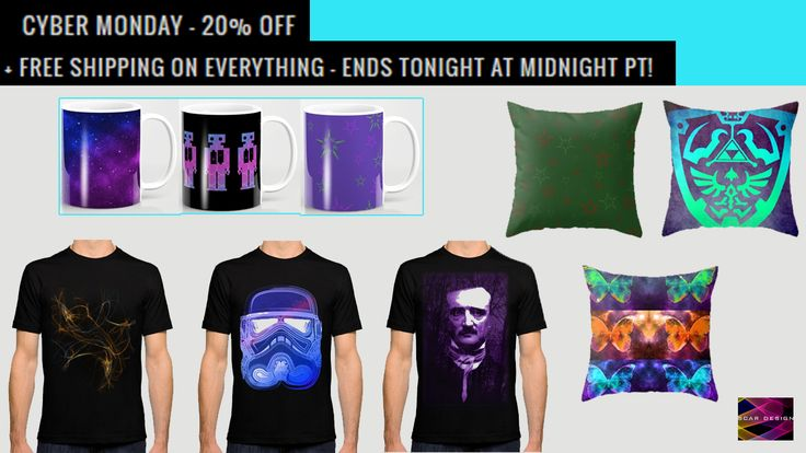 CYBER MONDAY 20% OFF +FREE SHIPPING on all my Products!!! #cybermonday #sales #onlineshopping #tshirts #coffeemugs #throwpillows #gifts #xmasgifts #christmasgifts #giftsforhim #giftsforher #kidsgifts #stormtroopertshirt #PoeTshirt #Psychedelic #giftsforhim #geek #nerd #cybermondaygifts #cybermondaygifts #society6 #freeshipping