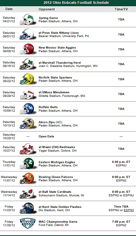 Bobcat football schedule - 2012! Come out to a game!