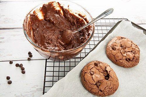 Chocolate Brookie Mixture and Cooked Brookies