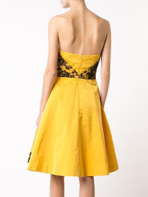 Oscar de la Renta платье-бюстье с вышивкой