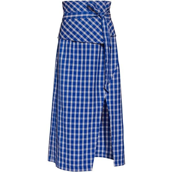 Sea - Obi Belted Gingham Midi Pencil Skirt (10 130 UAH) ❤ liked on Polyvore featuring skirts, wrap pencil skirt, midi pencil skirt, gingham midi skirt, blue plaid skirt and wrap midi skirt
