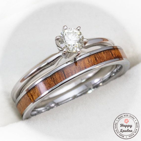 White Gold Solitaire Diamond Engagement Ring Set with Petite Width Tungsten  Carbide Koa Wood Ring