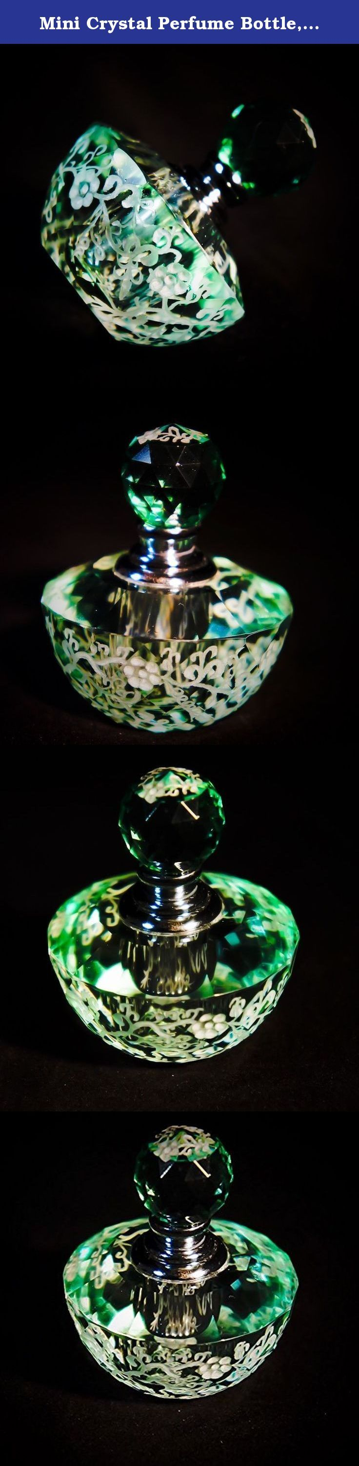 Mini Crystal Perfume Bottle, Flowers Series XVI. Hand engraved crystal perfume bottle makes the perfect gift for someone special in your life or you. The elegant crystal perfume bottle features flowers all round. Stunning piece! signed and numbered by artist. Ready to ship.