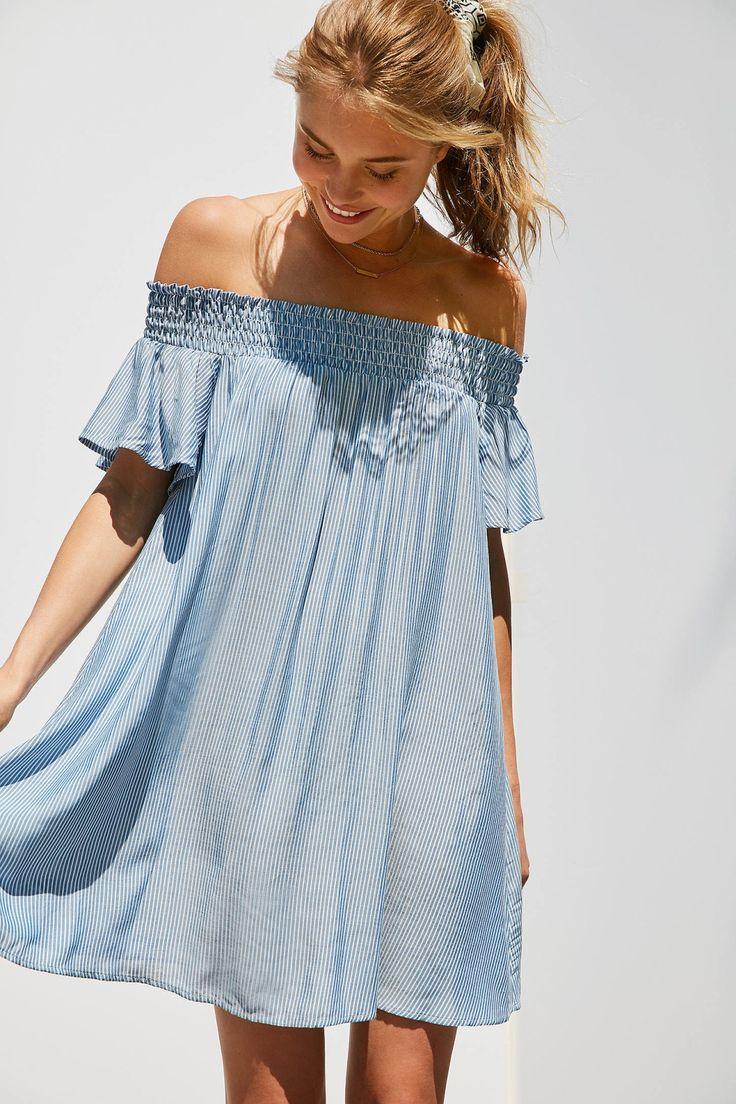 Slide View: 1: Cooperative Striped Off-The-Shoulder Flutter Sleeve Dress