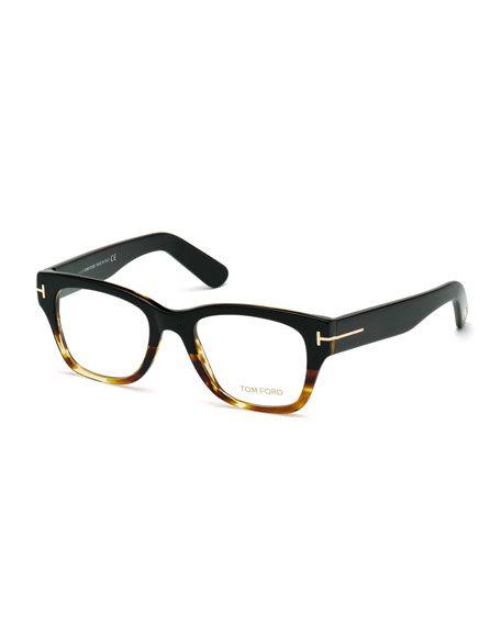 TOM FORD Square Two-Tone Optical Frames, Havana, Black/Havana. #tomford #