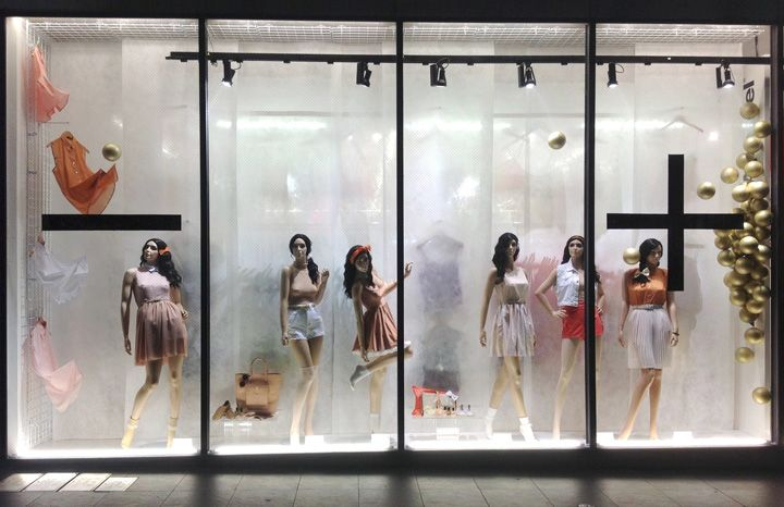 American Apparel Golden week windows Lena Shockley Japan. Like the gold balls on the right