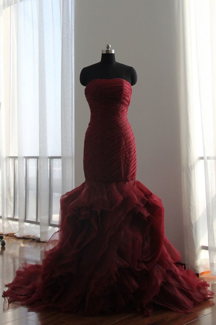 High Quality Designer's Mermaid Burgundy Wedding Dress
