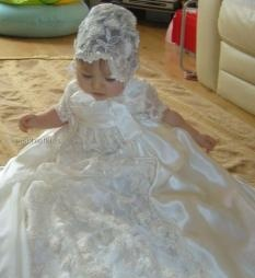 G2090 Olivia Little Darlings Duchess Silk Gown in White or Ivory....click to enlarge