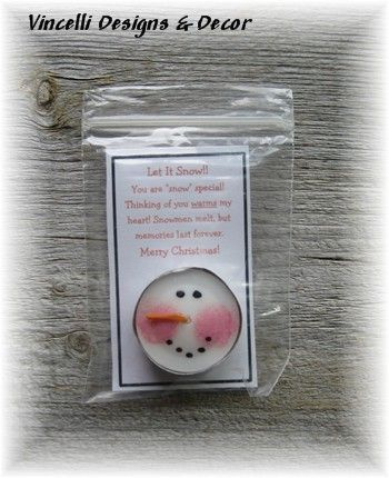 """Vincelli Designs & Decor snowman candles  made from a tea light candle with a snowman face painted on. Card reads, """"Let It Snow! You are """"snow"""" special! Thinking of you warms my heart! Snowmen melt, but memories last forever. Merry Christmas!"""""""