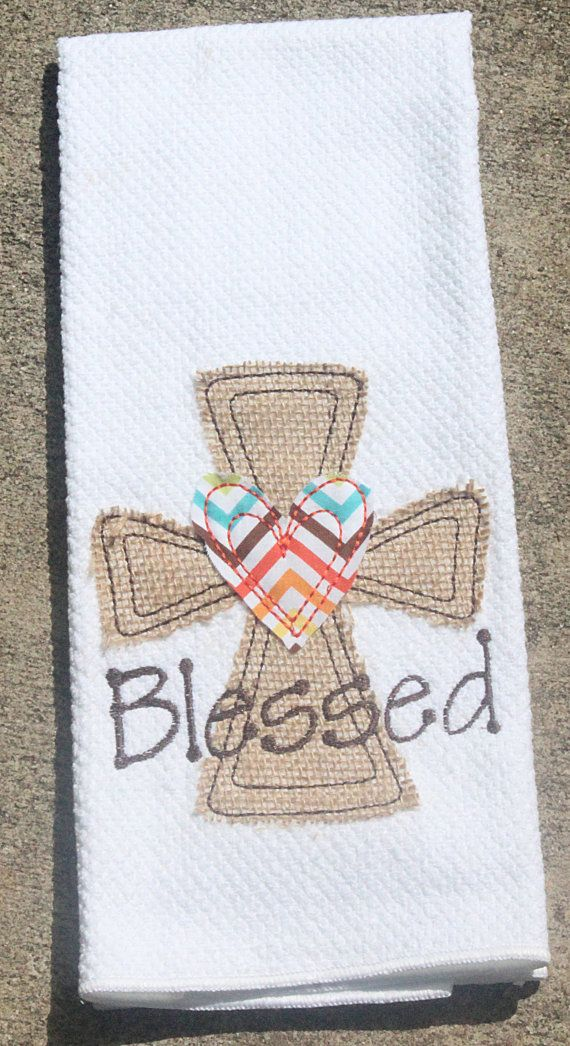Personalized Blessed Raggy Thanksgiving Burlap Cross Kitchen Towel on Etsy, $14.00