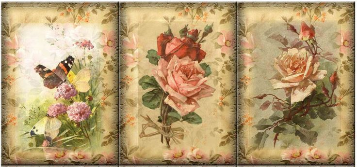 FLORAL ROSES (17) SCRAPBOOK CARD EMBELLISHMENTS HANG/GIFT TAGS #NA