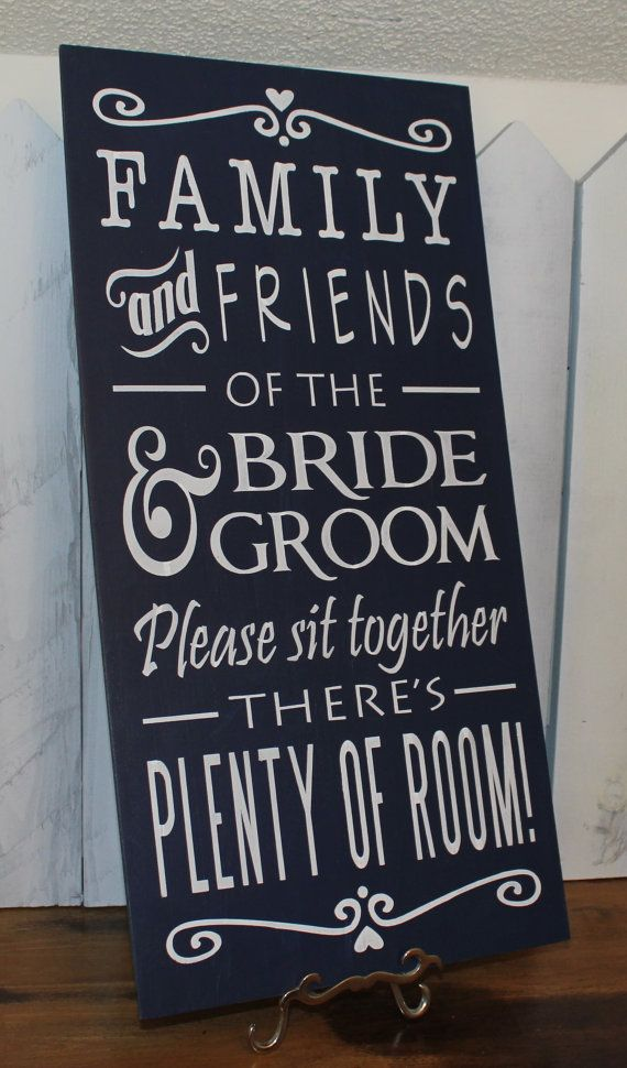 No Seating Plan Sign/Family & Friends of the Bride and Groom/Please sit together on Etsy, $39.95
