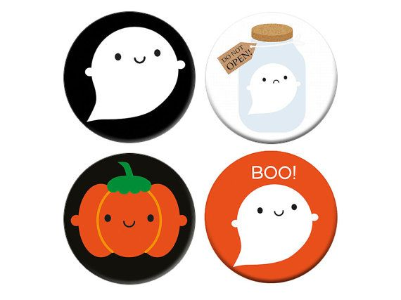 Kawaii Halloween Badge Set  Ghosts and by askingfortrouble on Etsy