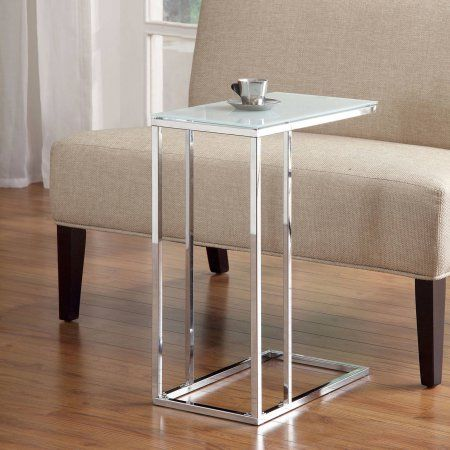 Metal Accent Table with Tempered Glass, Chrome, White
