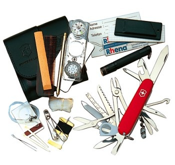 Victorinox Swiss Army SOS Survival Kit - Everything you could need in one small pouch.  Terrific!    Google Image Result for http://www.comparestoreprices.co.uk/images/vi/victorinox-survival-kit-swiss-champ.jpg