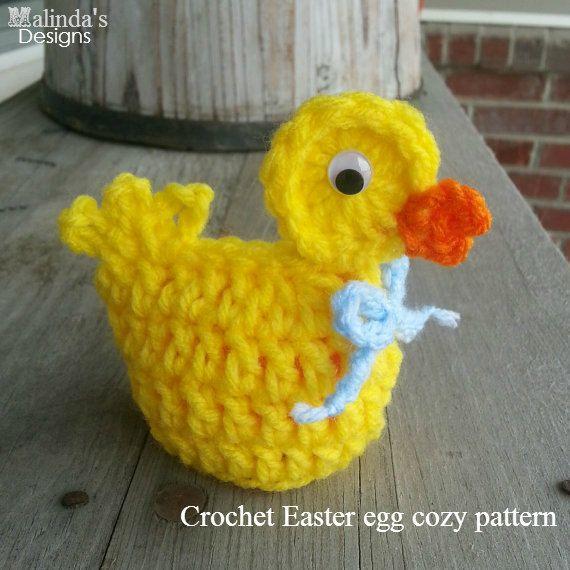 Easter Crochet Patterns For Beginners : Crochet easter egg DUCK cozy, fun, seasonal, & cute ...